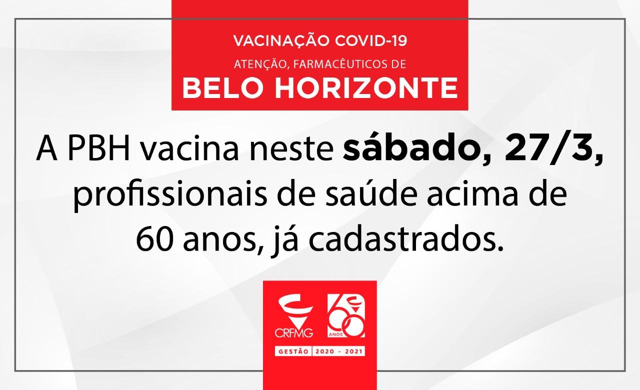PBH vacina profissionais de saúde acima de 60 anos já cadastrados